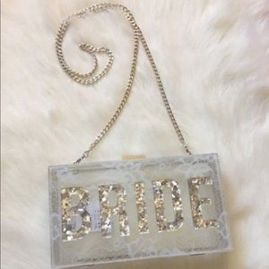 ALDO clear acrylic hard case BRIDE wedding purse